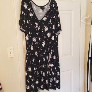 Navy floral flutter faux wrap dress
